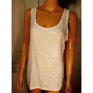 Sequined scoop neck tank top sleeveless long